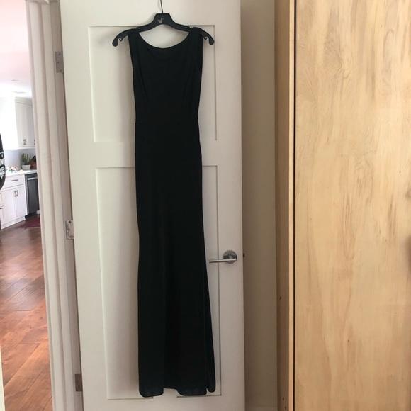 Ml Monique Lhuillier Black Cowl-Back Gown